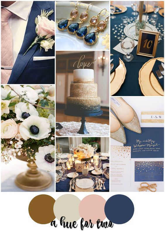 Gold, Champagne, Blush and Navy Elegant Wedding Colour Scheme - Wedding Colours - Wedding Planning - A Hue For Two | www.ahuefortwo.com: