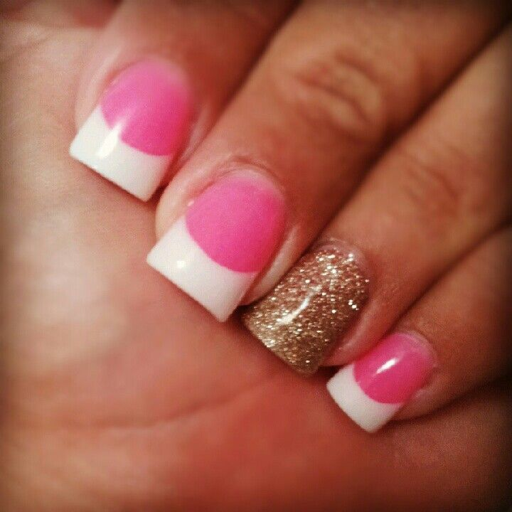 pink ampamp white nails with gold glitter