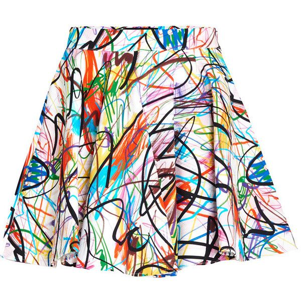 Jeremy Scott Scribbled Skirt (116.655 CLP) ❤ liked on Polyvore featuring skirts, bottoms, white a line skirt, print mini skirt, white cotton skirt, a line mini skirt and cotton mini skirt