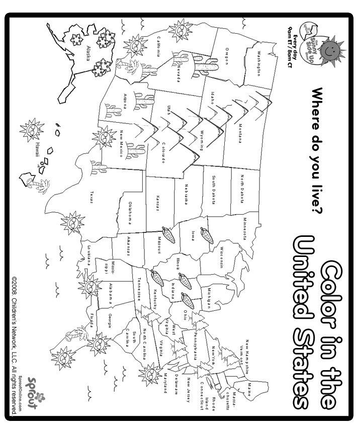 Print And Color US Map Coloring Page Social Studies Pinterest - Us map hawie state coloring pages