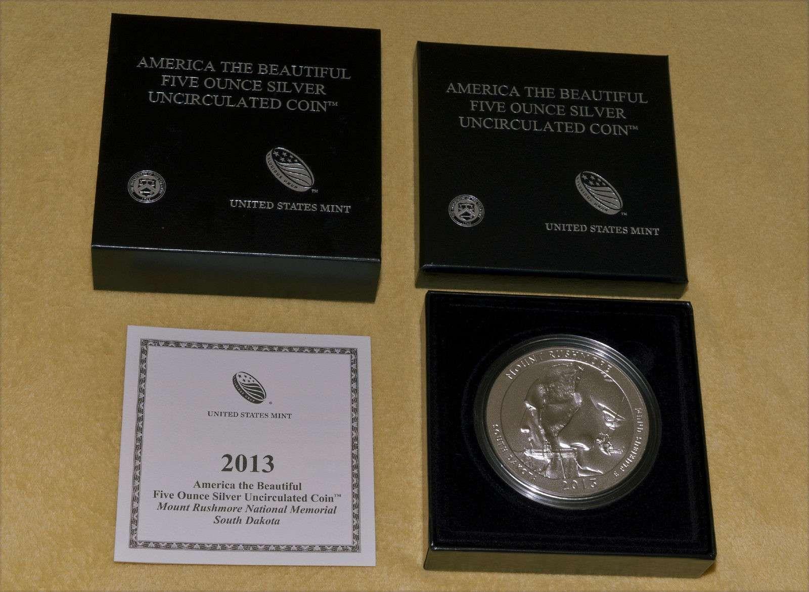 2013 P America The Beautiful Mt. Rushmore 5 Oz Silver Uncirculated Coin