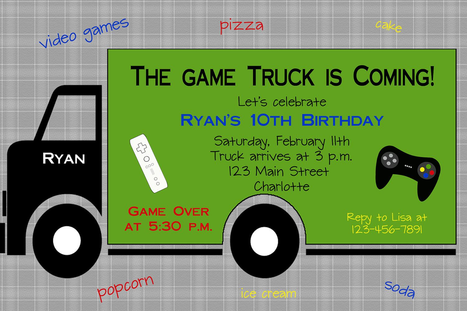 Video game birthday party invitation -- game truck -- video game ...