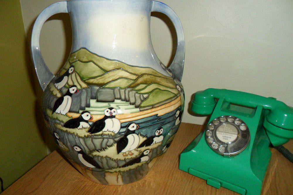 Moorcroft Puffin Vase By Carole Lovatt Huge 33cm 13 High Selling
