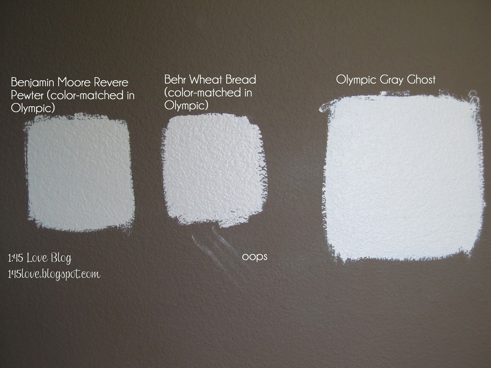 bright natural light Greige paint wall swatches Olympic Gray Ghost