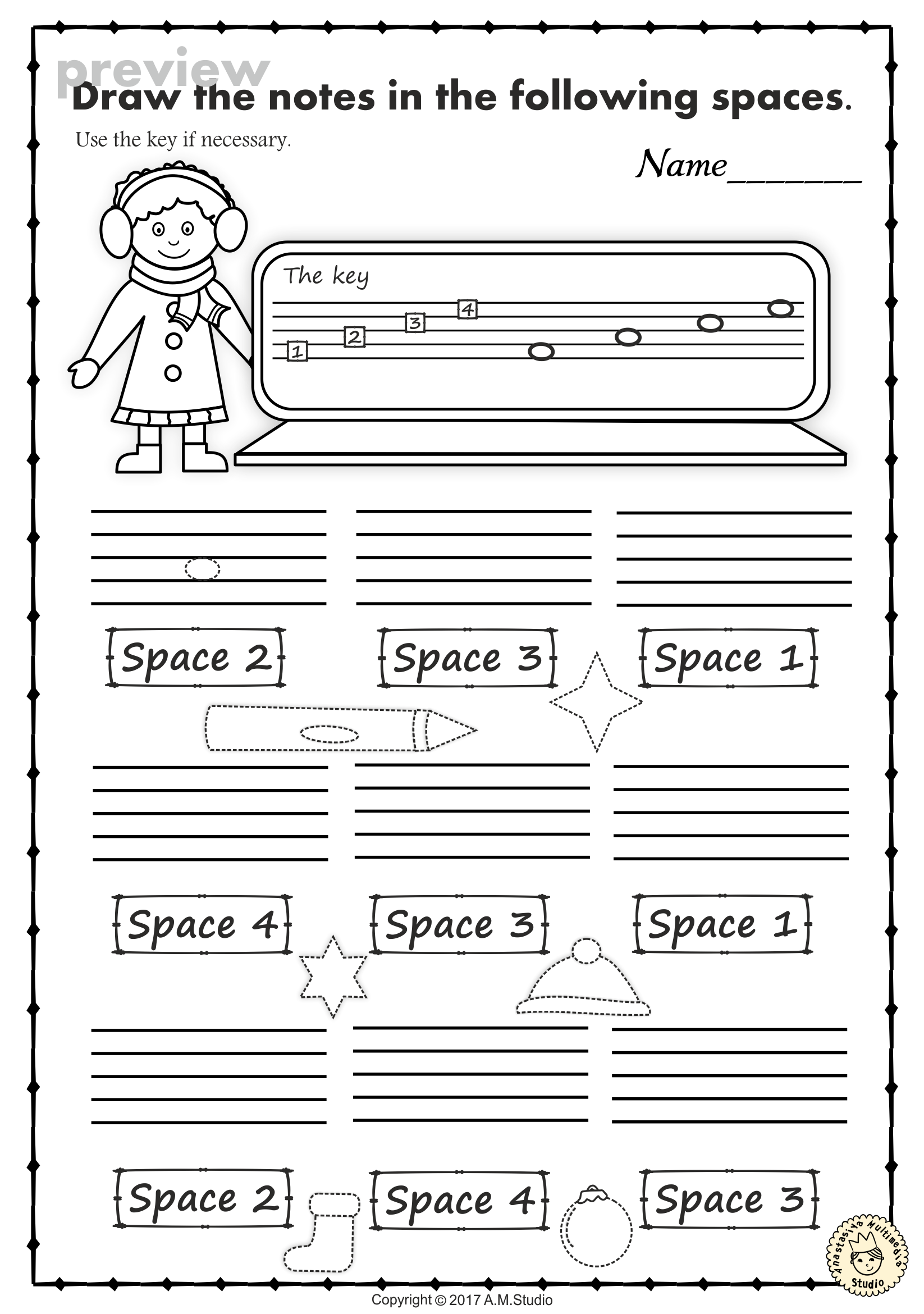Christmas Music Worksheets Lines Spaces High Low