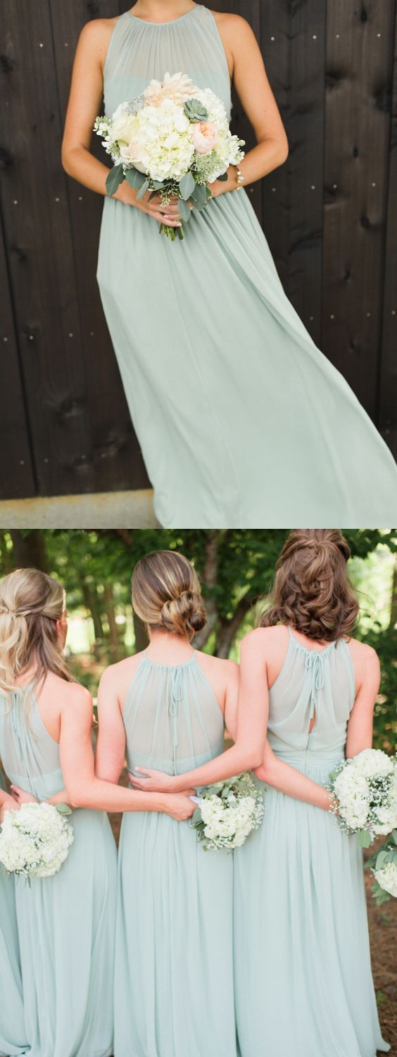 Sheath round neck open back mint long bridesmaid dresses under