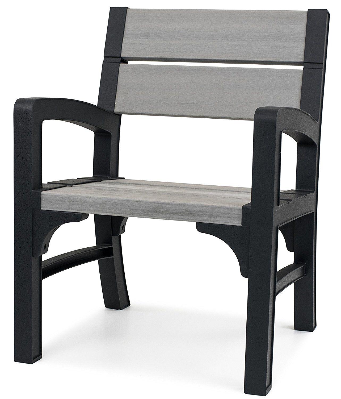 Keter Montero Wood Look Outdoor Garden Furniture Chair Soft Grey