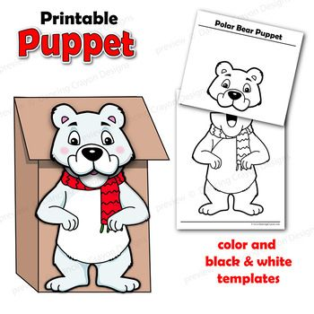 Fun and easy to make puppet polar bear! Printable paper bag puppet