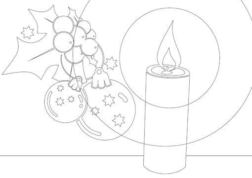 Ausmalbild Kerzenschimmer Und Mistelzweig Christmas Coloring