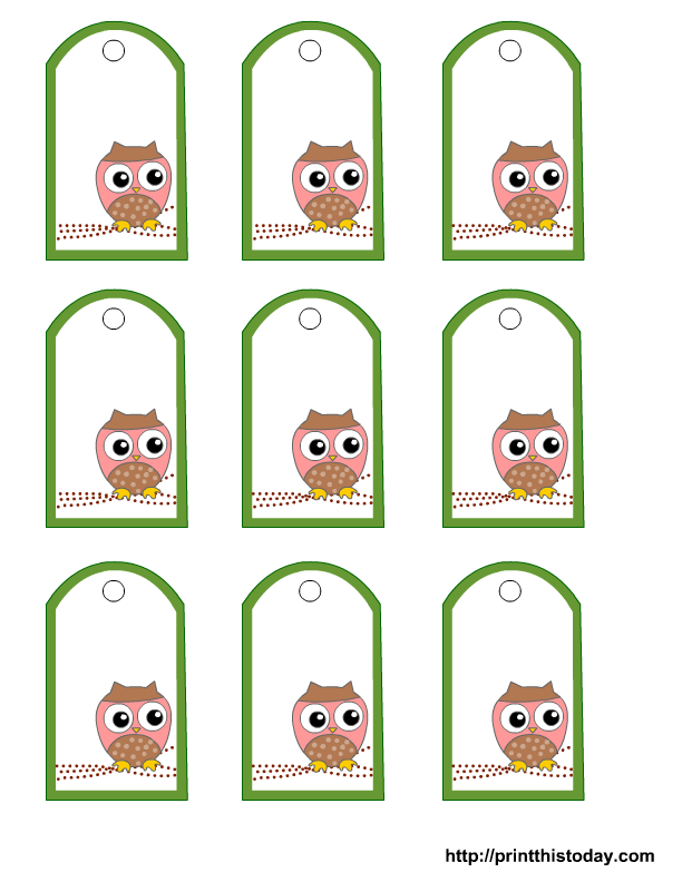 Free Printable Owl Gift Tags Templates In Pink Or Blue Or Green O
