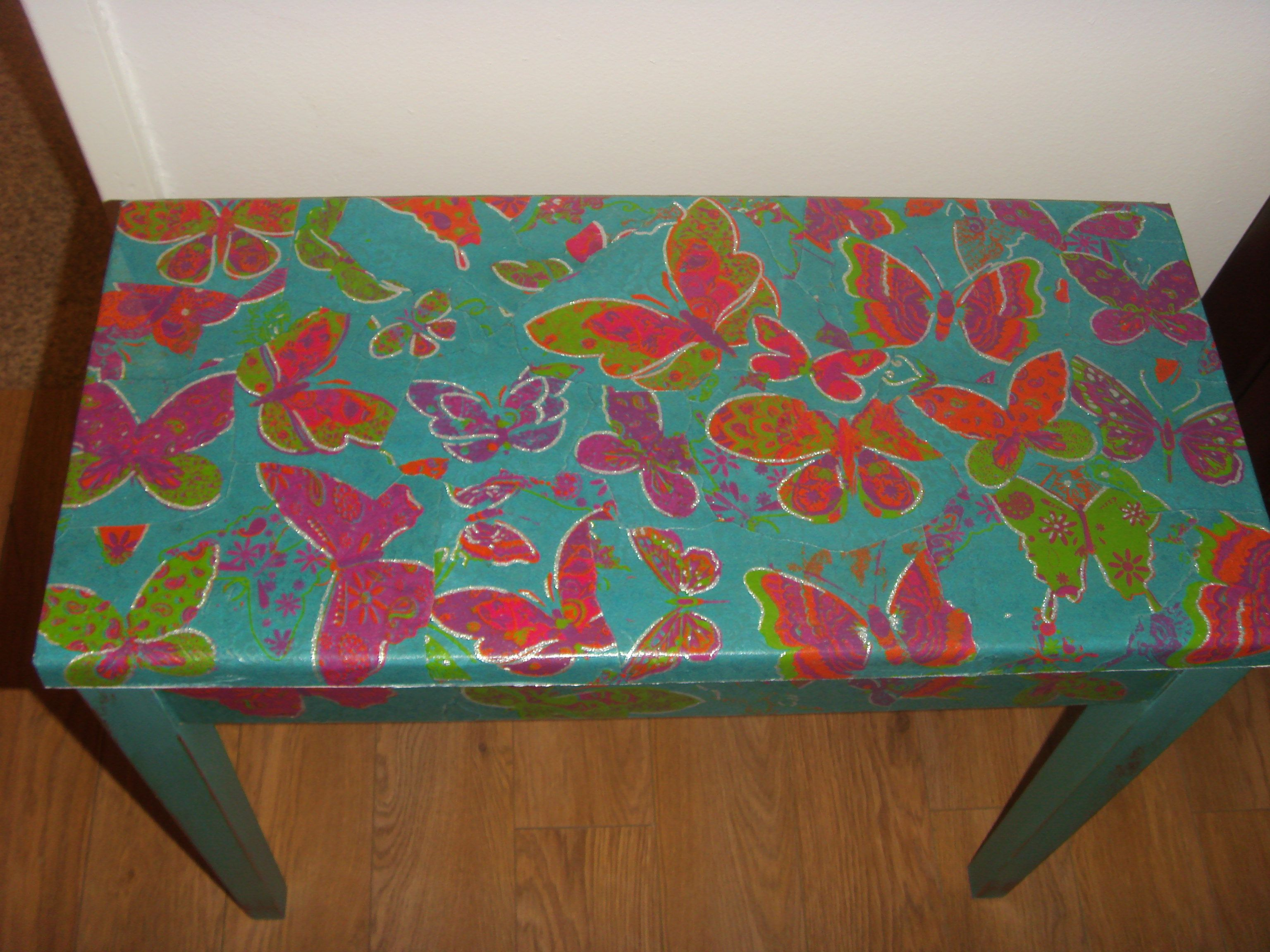 An old table I decoupaged to upcylce it