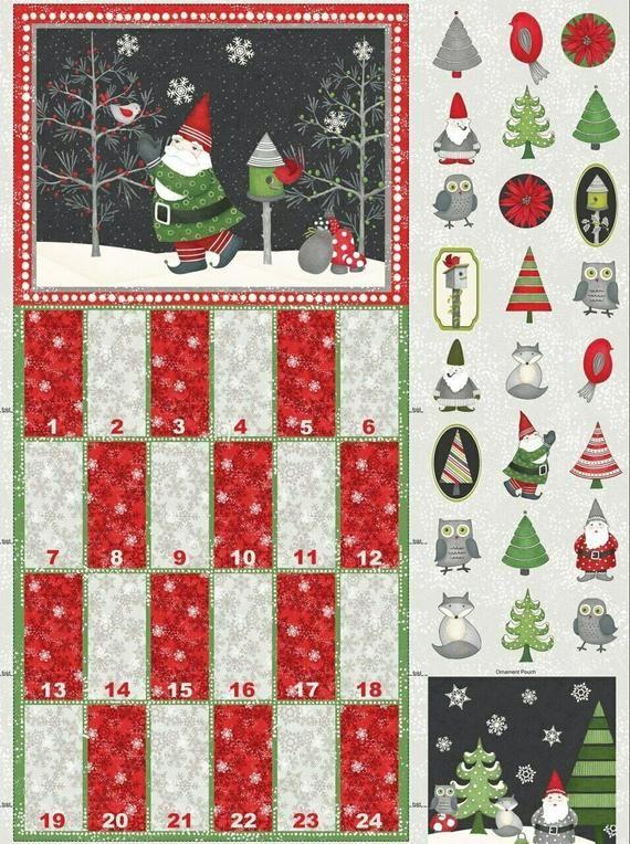 "Winter Gnomes Advent Calendar Panel 29"" x 44"" Christmas"