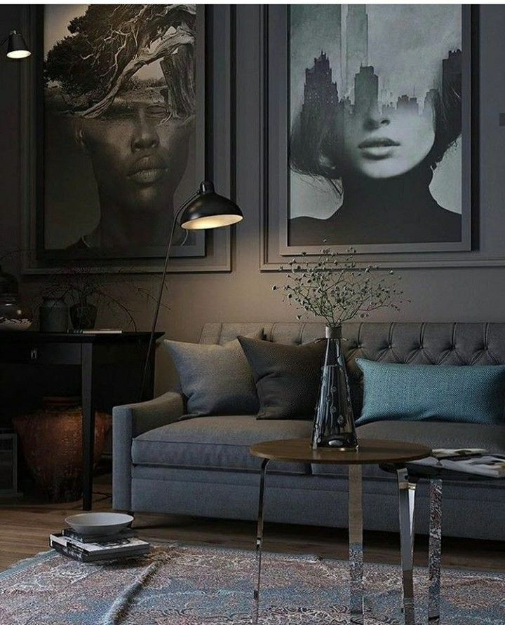 Dark grey Black living room interior decor design edgy ...