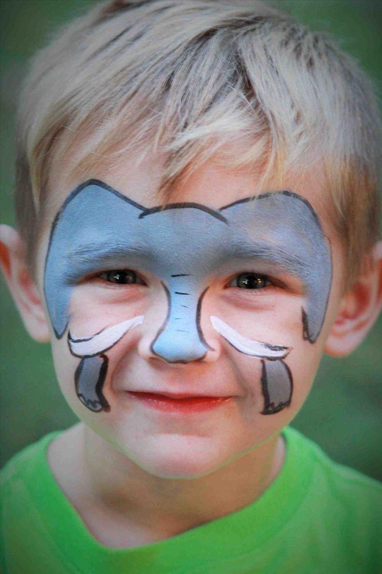 Kinderschminken Jungen Motive Elefant Gesicht Makeup Fasching
