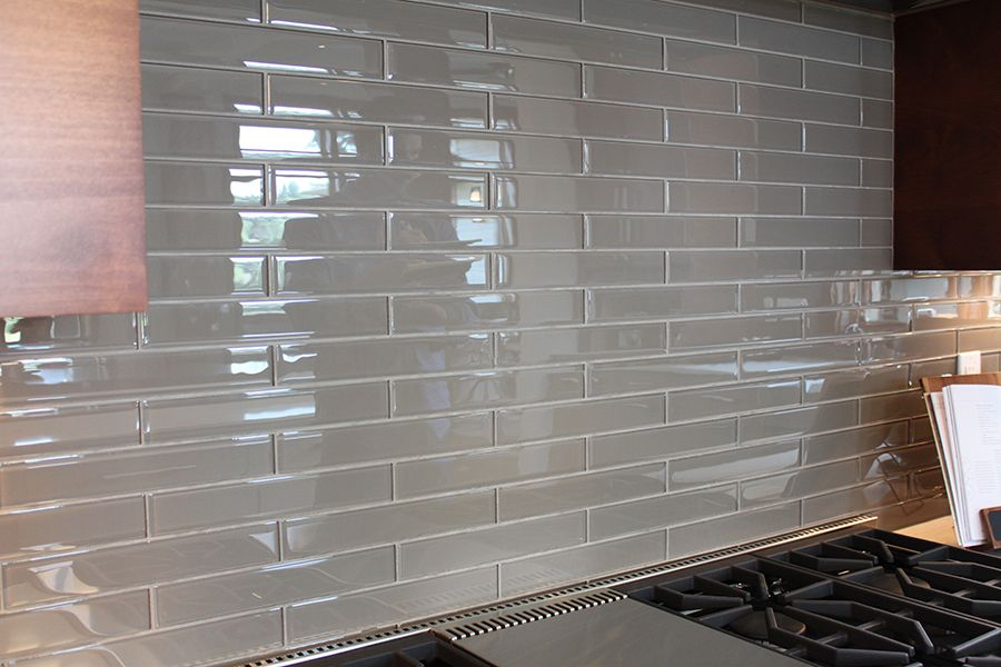 Vetro Winter Taupe Glass Tile 2x12 Kitchen Pinterest