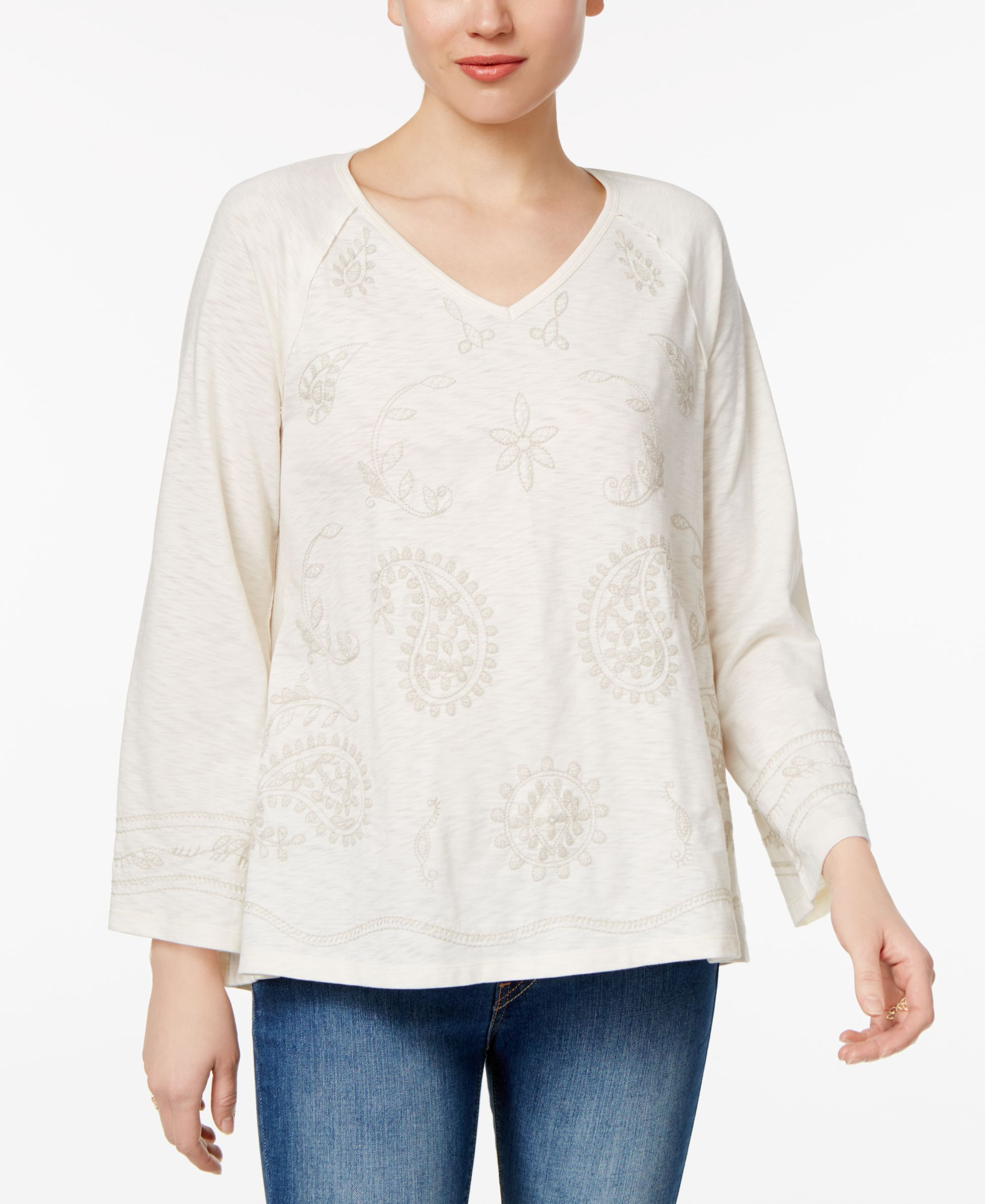 Style & Co Bell-Sleeve Embroidered Top, Only at Macy's