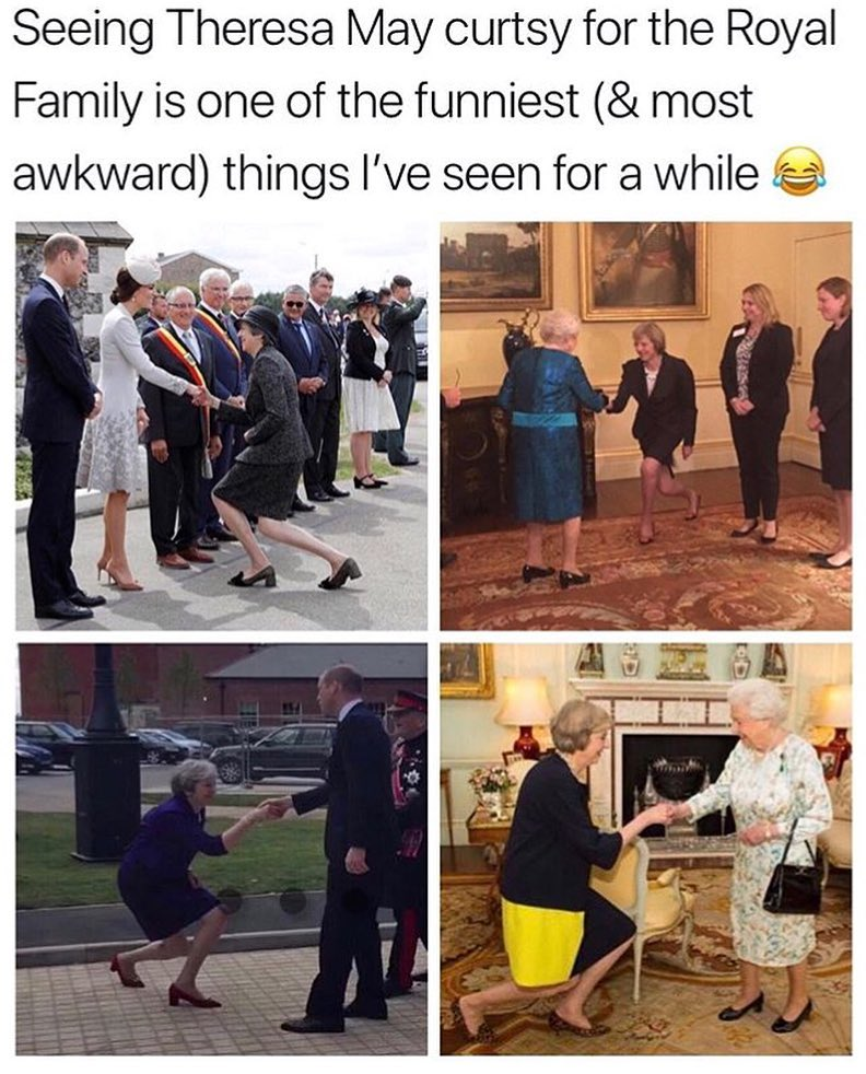 Theresa May Curtsy For The Royal Family In 2021 Royal Family England England Funny Royal Family News