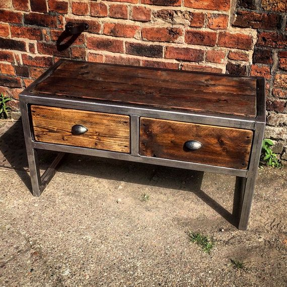 Industrial Chic Reclaimed Custom Coffee Table TV Unit With