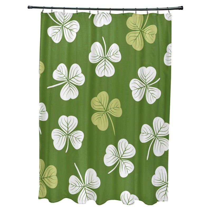 E By Design Lucky Polyester Shower Curtain Dark Green