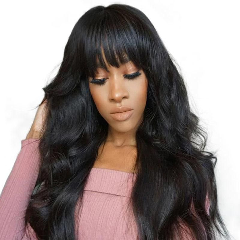 Body wave wig with bangs 360 lace frontal wig pre plucked
