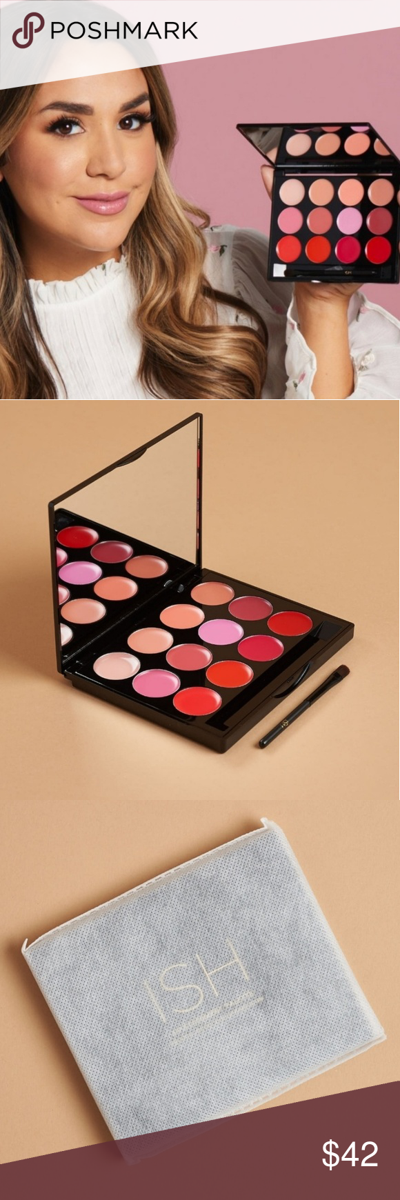 ISH Lip Statement Palette With these nudes and pops of colors your lips will create a bold statement these 11 colors are enriched with rose extracts shea butter jojoba oil and aloe vera for extra moisture and easy wear gluten free and cruelty  free ISH Makeup Lipstick #jojobaoil