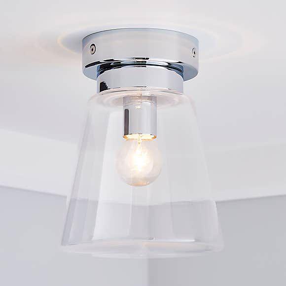 Delavin 1 Light Pendant Glass Flush Bathroom Ceiling Fitting In 2020 Glass Flush Light Flush Lighting Flush Light Fittings