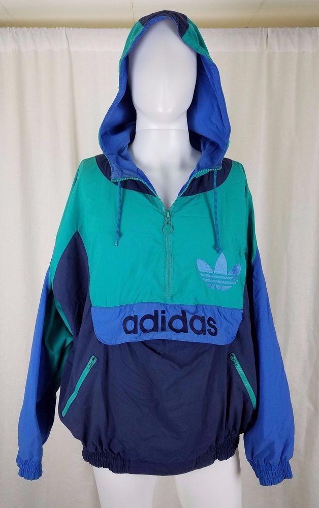 fc93813ed8ccb Vintage Adidas Trefoil Colorblock 90s Pullover Nylon Windbreaker ...