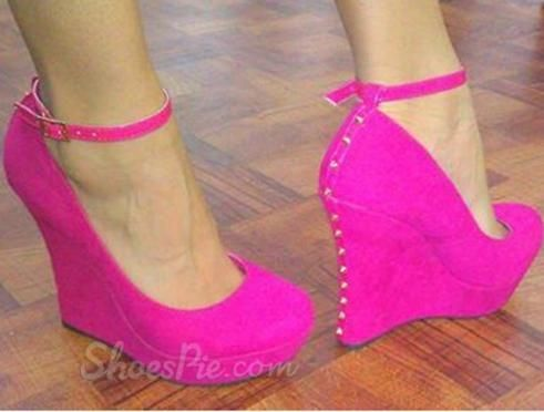 Gorgeous Rose Suede Ankle Strap Wedge