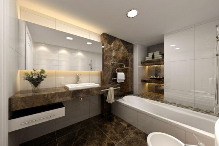 estantes iluminadas en el baño moderno BAÑOS Pinterest Diseño