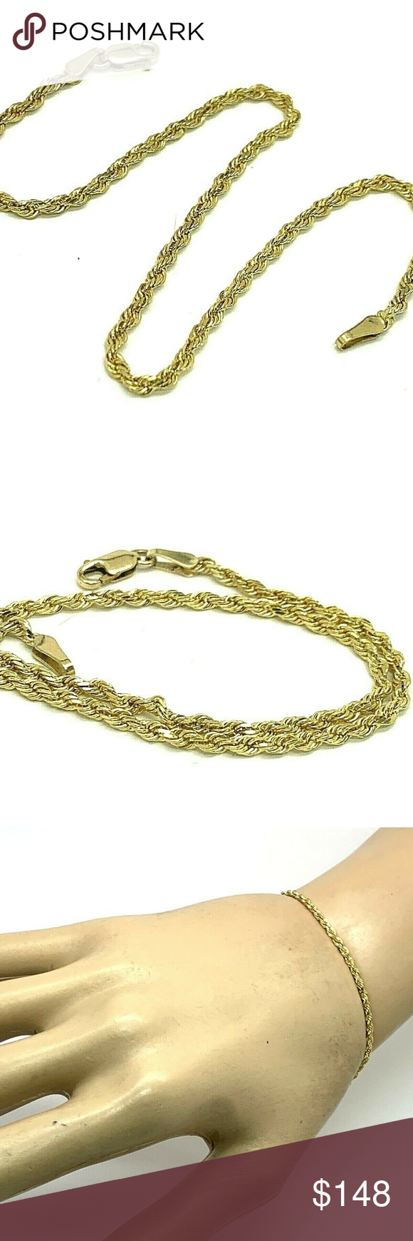 10k Yellow Gold Rope Bracelet 2mm Unisex 8 5 10k Yellow Gold Plain Rope Bracelet 2mm Unisex 8 5 Length Esta In 2020 Rope Bracelet Womens Jewelry Bracelets Bracelets
