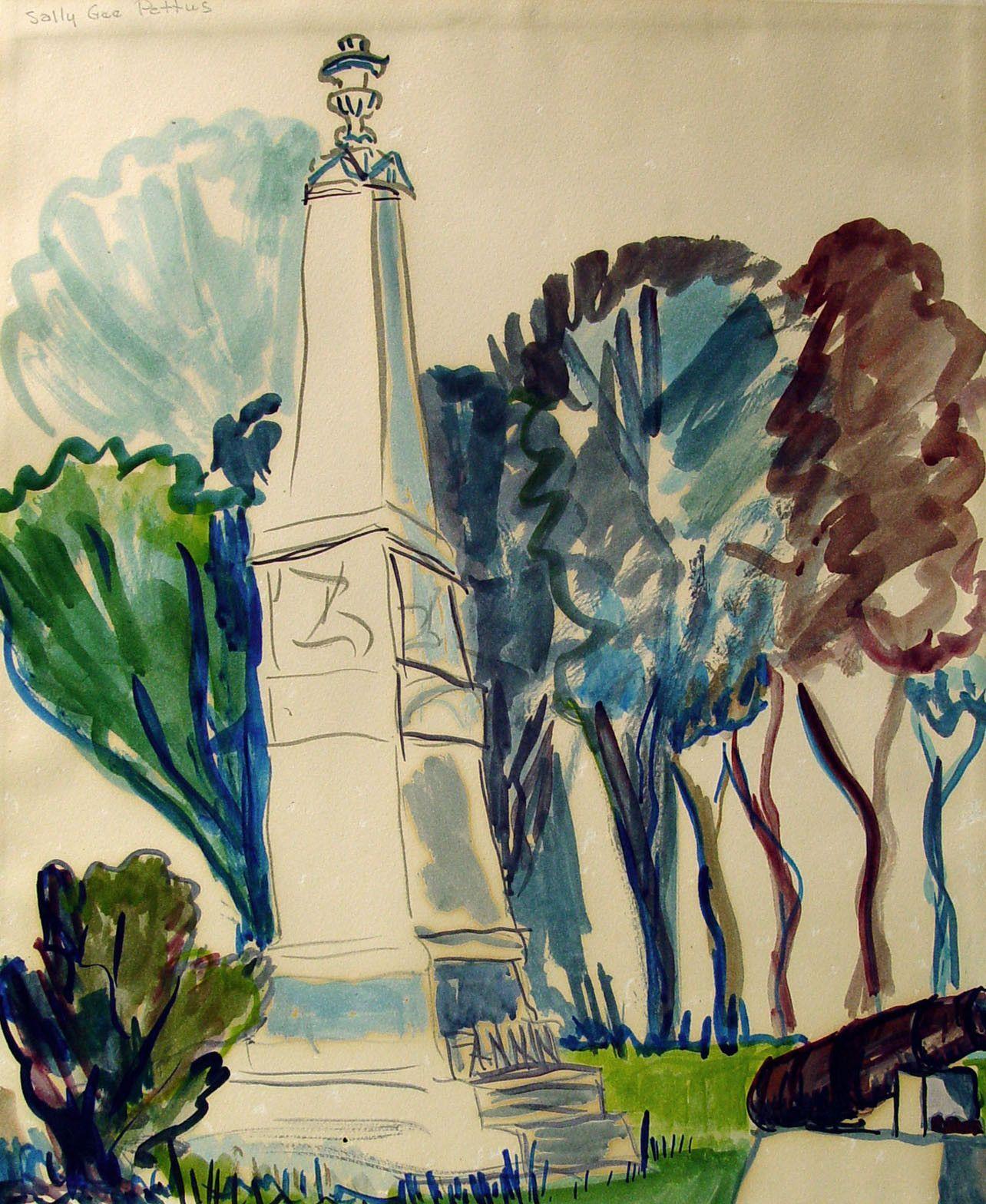 Watercolor artist in texas - Vintage Texas Artist Fannin Monument Goliad Texas Watercolor