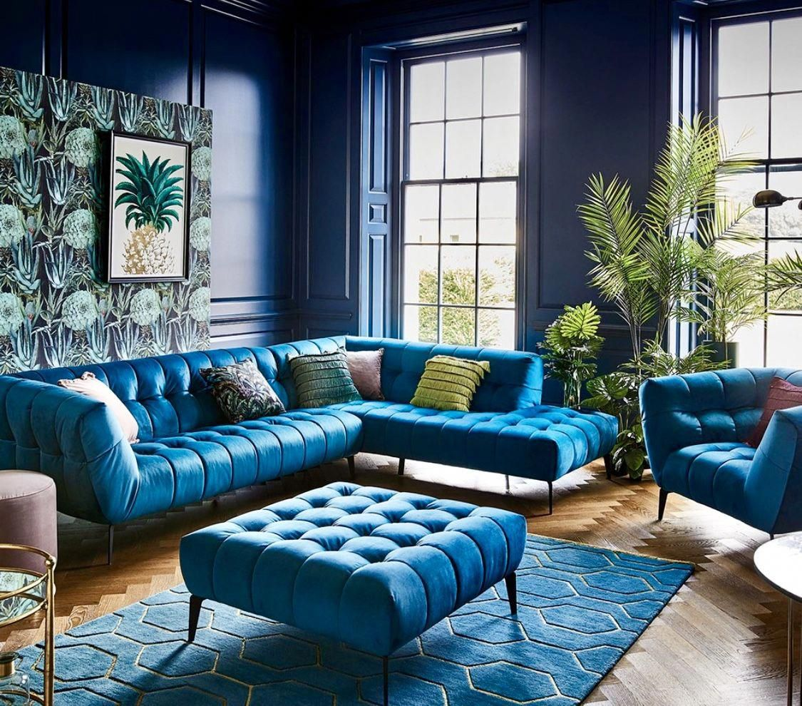 art deco eclectic colorful teal living room decor with