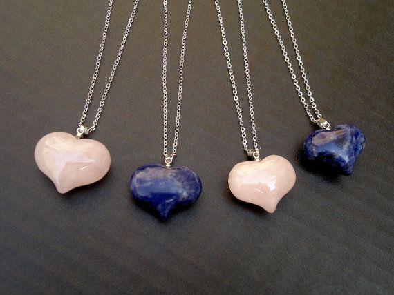 Heart Necklace Rose Quartz Necklace Sodalite Necklace Pink Heart Blue Heart Quartz Jewelry Sodalie Jewelry Mineral Necklace Heart Pendant
