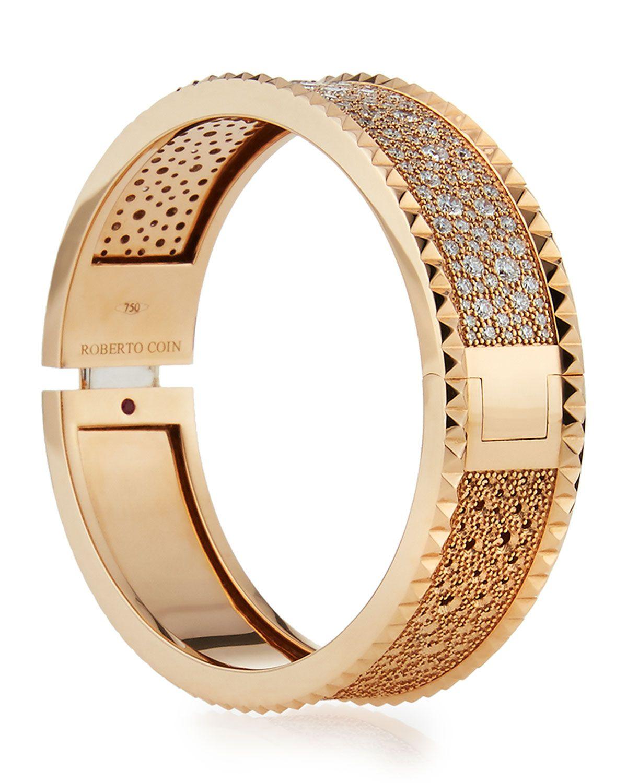 ROBERTO COIN ROCK   DIAMONDS Slim 18K Rose Gold Bangle, 1.49 tdcw ... 4478c1d65ca