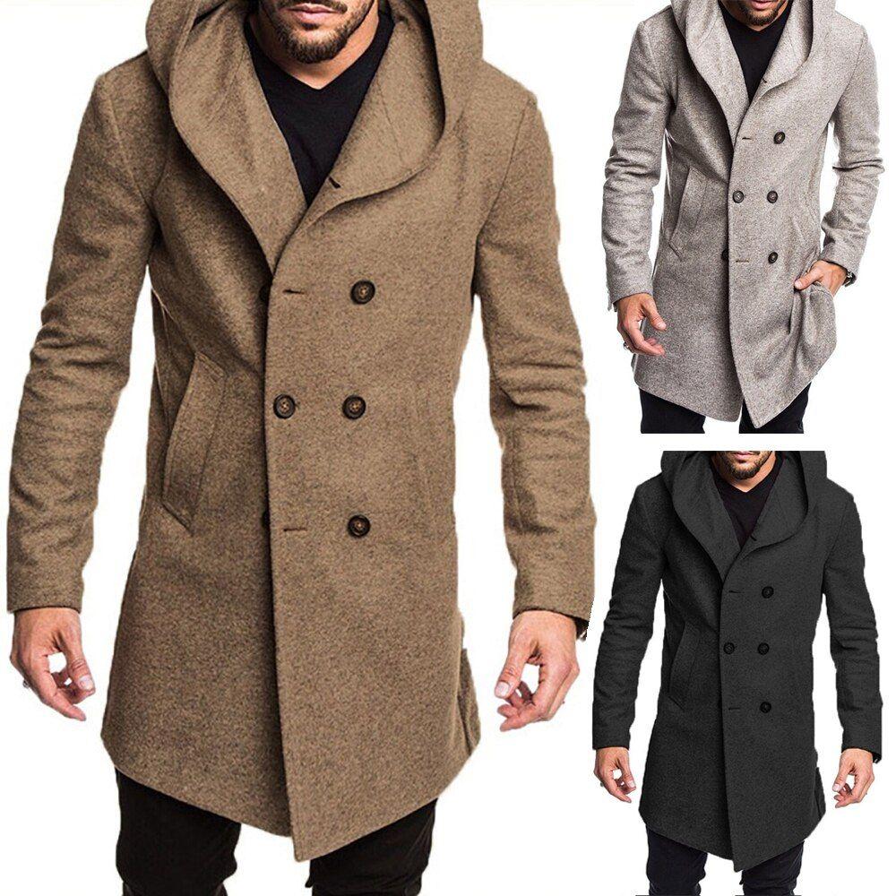 Otoño Invierno Abrigo De Lana Para Hombre Estilo Británico Nuevo Diseño Con Cremallera Abrigo Largo Marca Long Trench Coat Wool Trench Coat Men S British Style