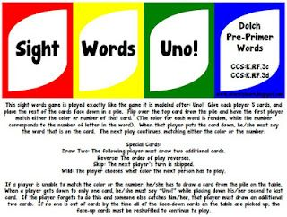 sight word uno with pre-primer words for free!  other dolch word lists are available to buy!