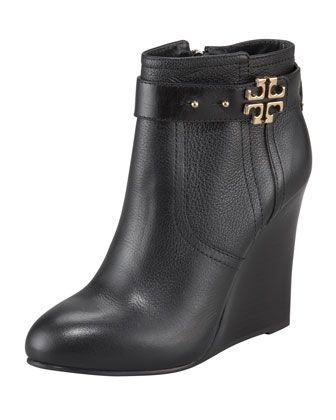 Tory Burch Elina Logo Wedge Bootie #shoes, #women, https://