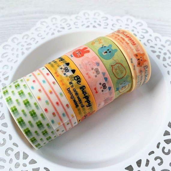 Washi Tape Sale Bundle - 6 Tapes - Kawaii Korean - Heart Spot Cat Rabbit FoxCartoon Washi Tape Sale