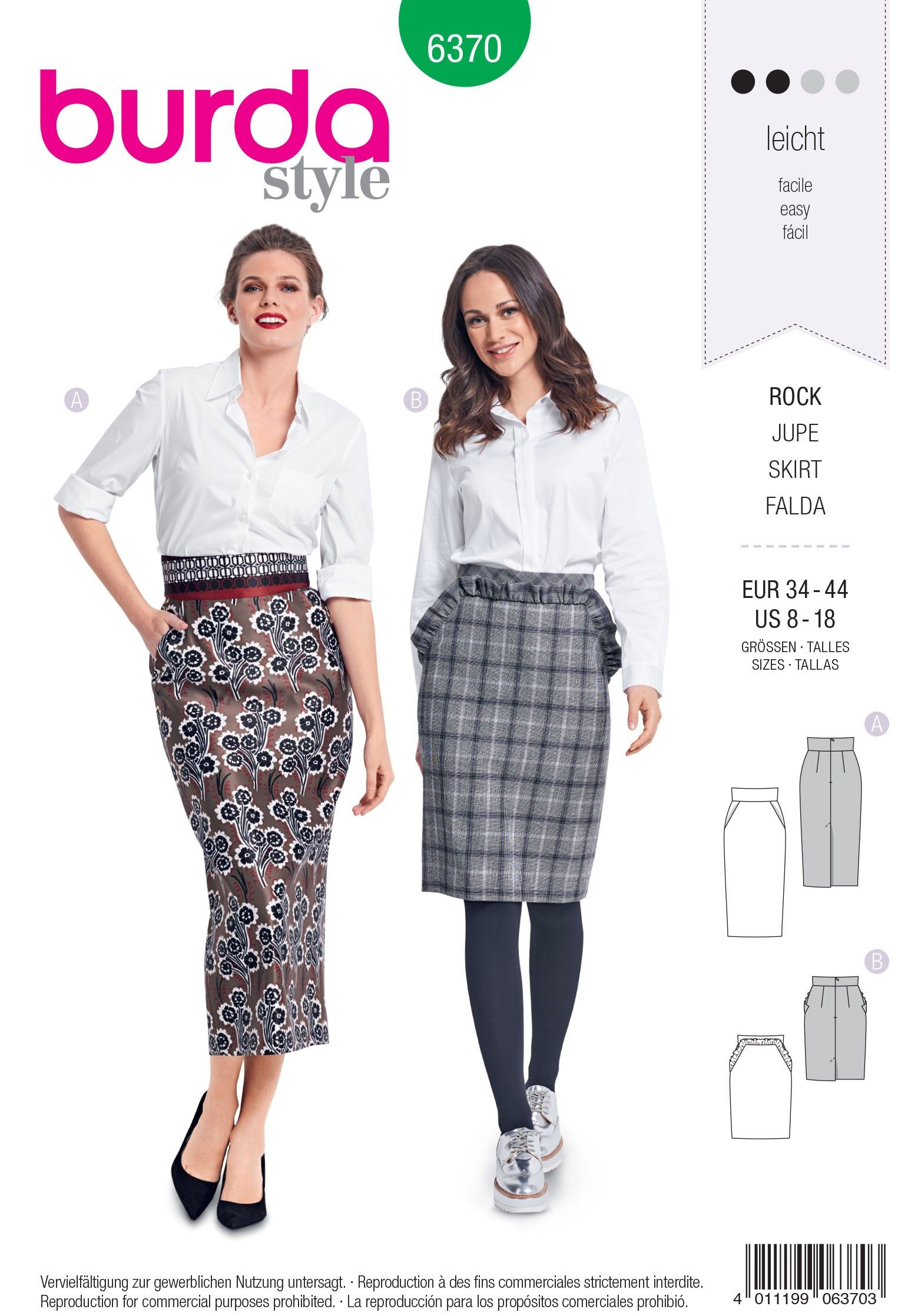 Burda Pattern 6370 Pencil Skirt with Pockets
