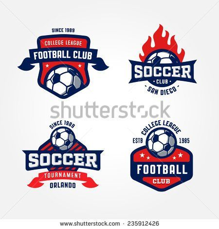 Set Of Soccer Football Badge Logo Design Templates | Sport Team Identity  Vector Illustrations Isolated On