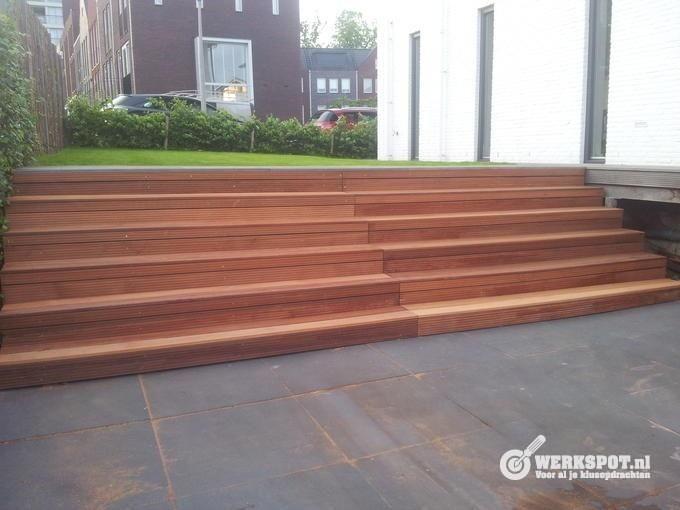 Houten tuin trap google zoeken projecten om te for Houten trap buiten