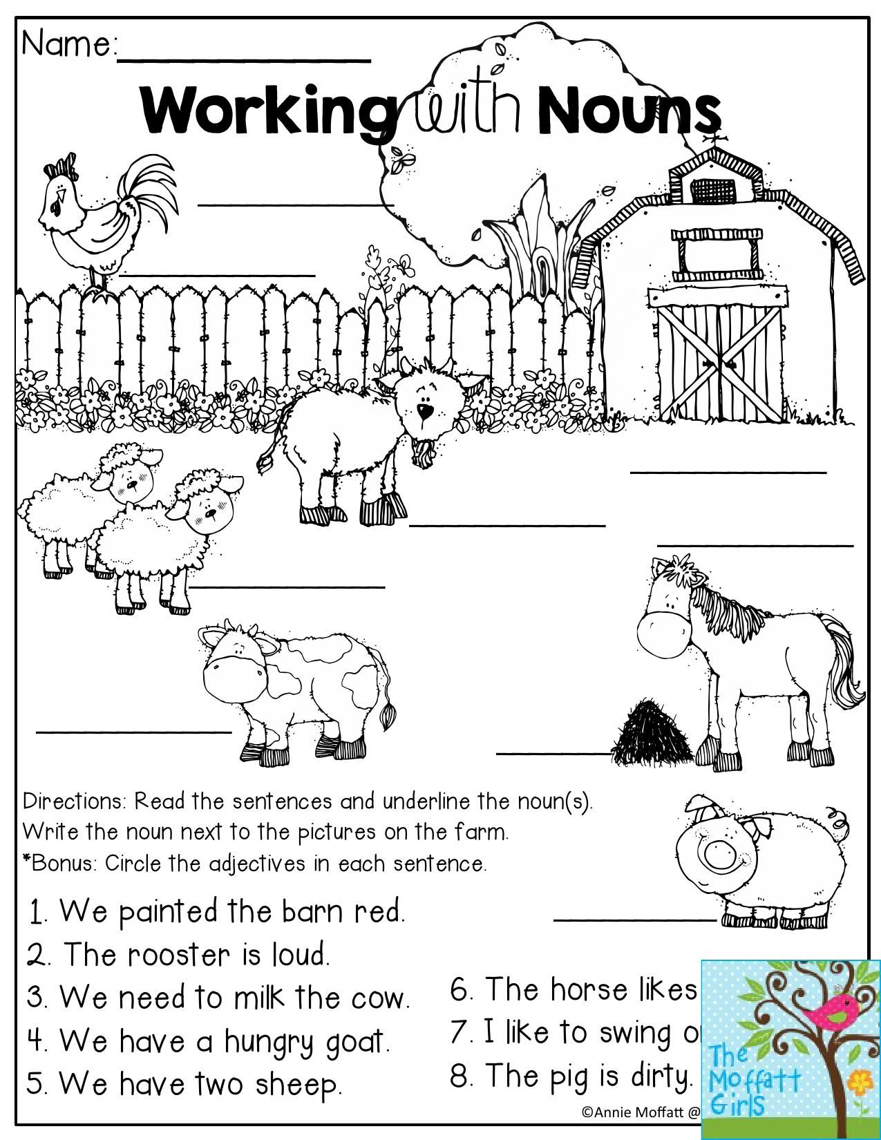Working with Nouns (on the farm!)- Read the sentences and underline the noun.  …   Kindergarten reading worksheets [ 1650 x 1275 Pixel ]