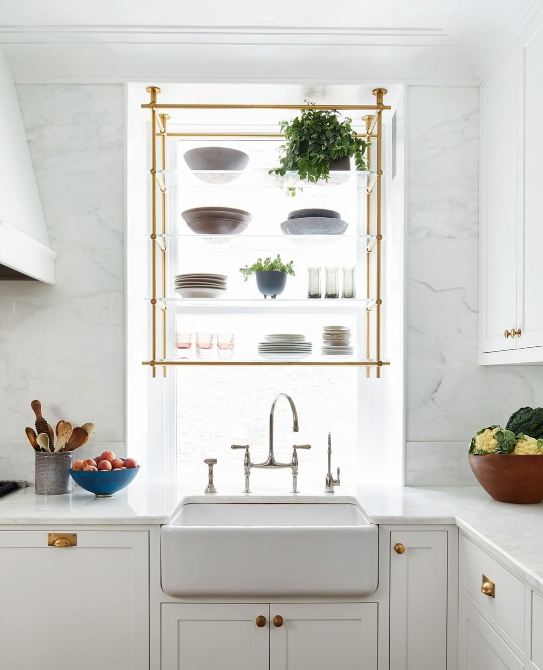 Ceiling Hung Collector S Shelving Unit In Window In 2020 Upper Cabinets Kitchen Design Kitchen Design Trends