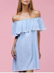 Chic Off The Shoulder Flounce Solid Color Fringed Dress For Women (LIGHT BLUE,S) | Sammydress.com Mobile