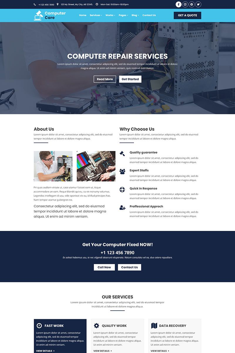 Computer Care Mobile And Computer Repair Psd Template 79243