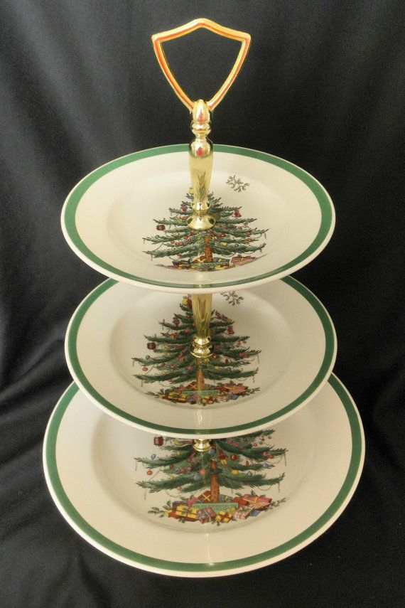 Spode England Christmas Tree 3 Tiered Tidbit Serving Tray Plate 99 Spode Christmas Tree Christmas In England Spode