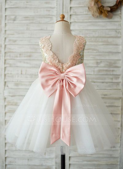 f848fa93837cc [AU$ 99.00] A-Line/Princess Knee-length Flower Girl Dress - Tulle/Sequined  Sleeveless Scoop Neck With Sequins/Bow(s) (010123035)