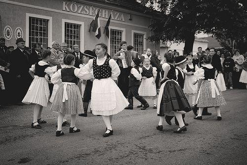 Children folk dancing in the grape harvest parade in Somló, Hungary on September 20th 2008.