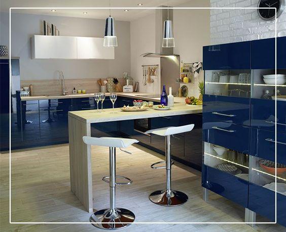 meuble gossip bleu pour une cuisine ouverte sur la convivialit cuisines pinterest. Black Bedroom Furniture Sets. Home Design Ideas
