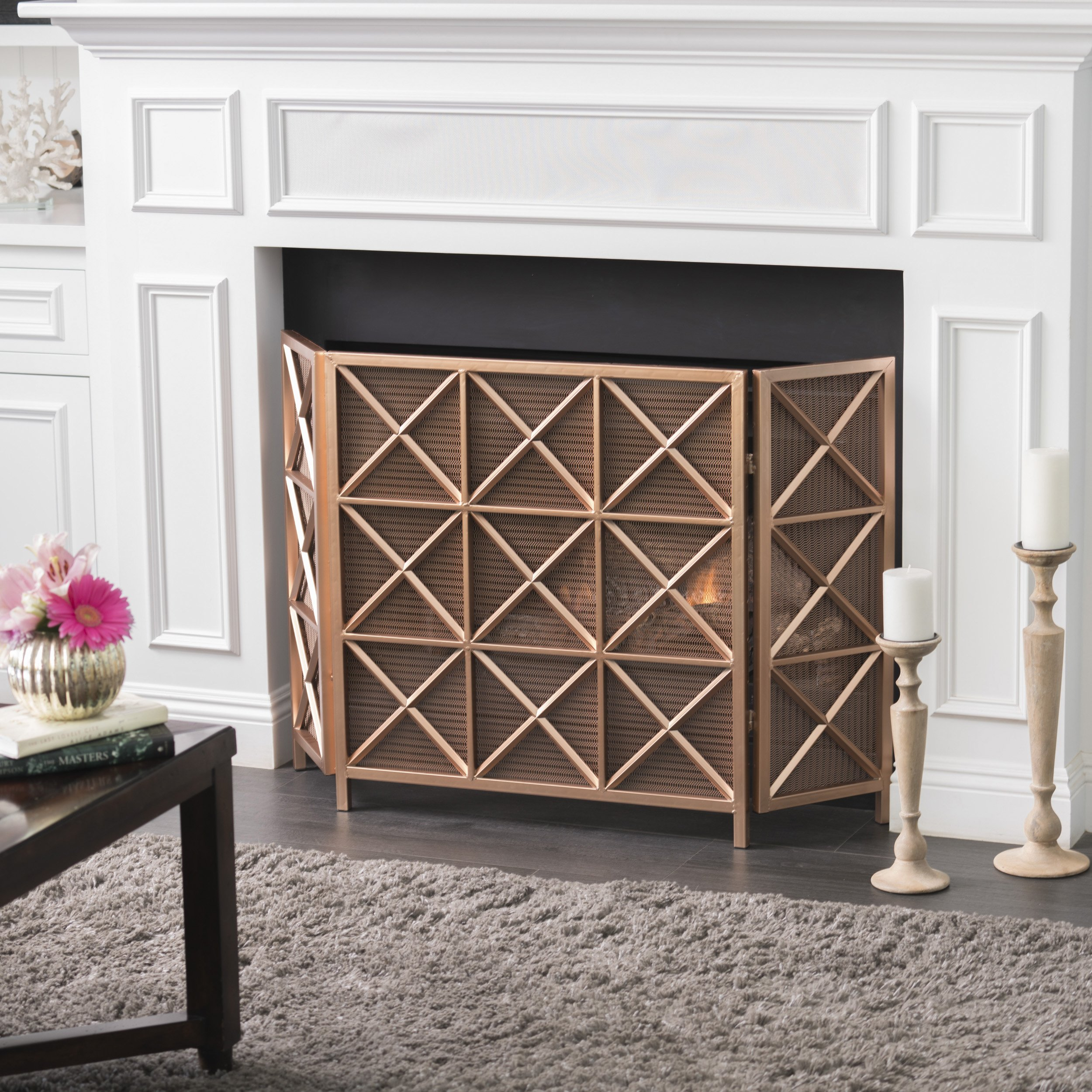 mandralla 3 paneled iron fireplace screen fireplace screens
